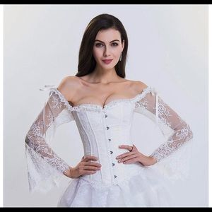 Overbust Lace up Back Corset with Shoulder Sleeve